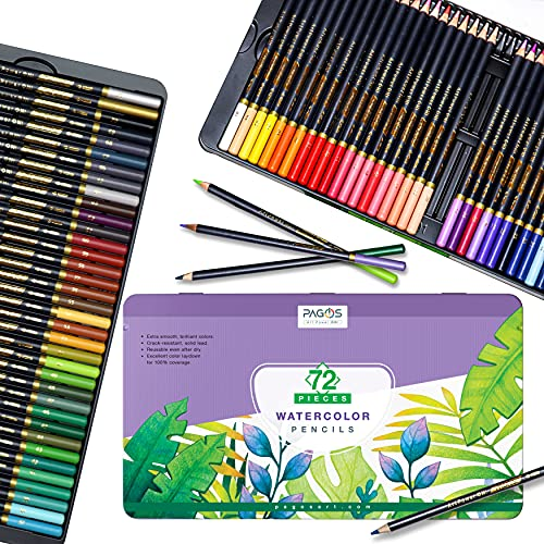 Pagos Watercolor Pencils Set – 72 Professional Drawing Pencils for Kids Adults Artists, Art Supplies for Coloring, Creating Beautiful Blending Effects with Vivid Colors Brush and Water, Layering.