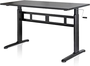 EleTab Manual Height Adjustable Standing Desk with 55 x 24 inches Tabletop Stand up Desk Frame and Desktop Workstation with Crank System