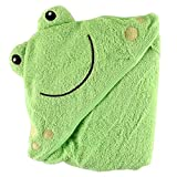 Luvable Friends Unisex Baby Cotton Animal Face Hooded Towel, Frog, One Size
