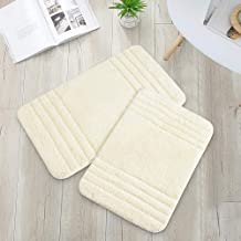 COSY HOMEER 30x18 Inch/24X17 Inch Bath Rugs 2pcs Set Made of 100% Polyester Extra Soft and Non Slip Bathroom Mats Speciali...