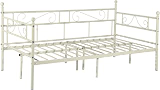 GreenForest Daybed Metal Bed Frame Twin Size Mattress Foundation Platform Base No Box Spring Needed for Guest Living Room, Cream White