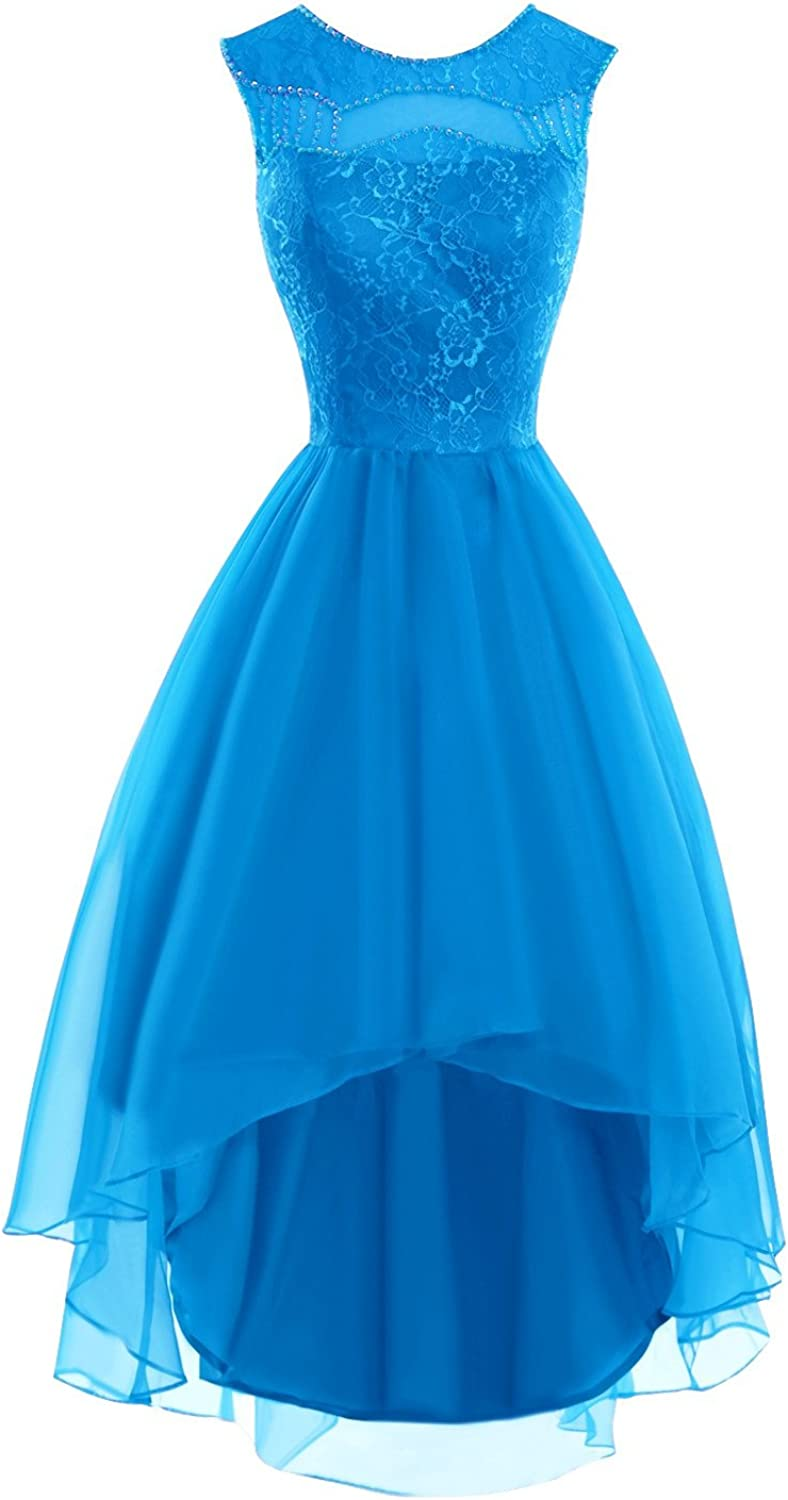 Bess Bridal Women's Beaded Lace Organza High Low Prom Homecoming Dresses