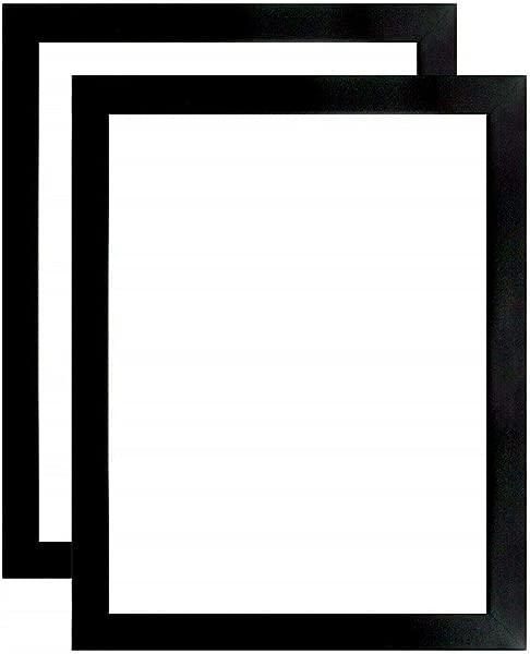 US Art Frame 17x22 Satin Black 1 25 Inch Flat Wood Composite MDF Wall Decor Picture Poster Frame Set Of 2