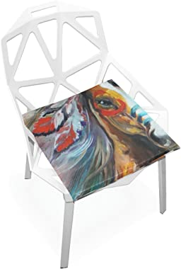 DOENR Seat Cushion Chair Cushions Covers Set Bohemia Horse Decorative Indoor Outdoor Velvet Double Printing Design Soft Seat Cushion 16 x 16