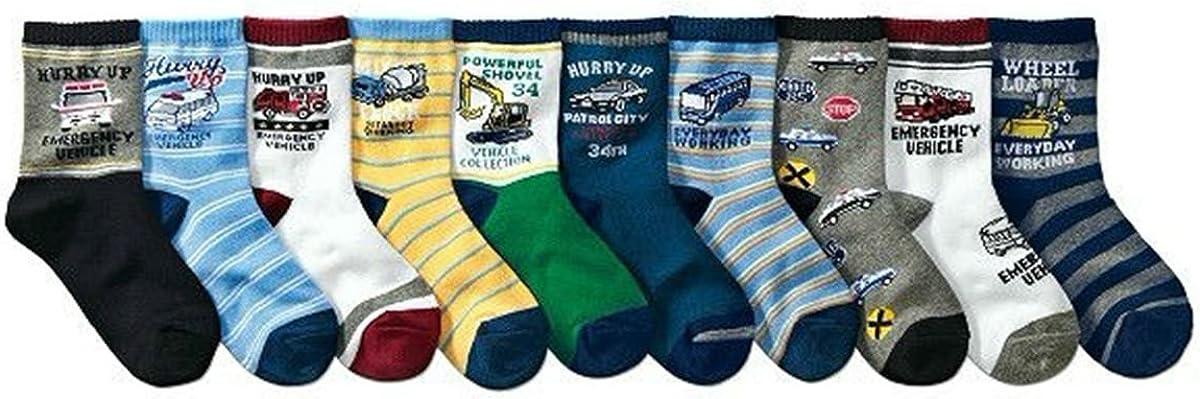 Boys Short Socks Fashion Cartoon Bus Soft Cotton Basic Crew Kids Socks 10 Pair Pack
