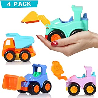 Toddler Toy Cars, Truck Toys for 2, 3 Year Old Boys, Construction Toys Vehicles, Push and Go Friction Toy Cars for Toddlers, 4 Pack Including Dumper Road Roller Bulldozer Excavator