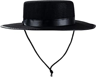 Tigerdoe Spanish Hat - Gaucho Hat, Amish Hat, Black Fedora Flat Top - Costume Hats