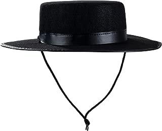Spanish Hat - Gaucho Hat, Amish Hat, Black Fedora Flat Top - Costume Hats