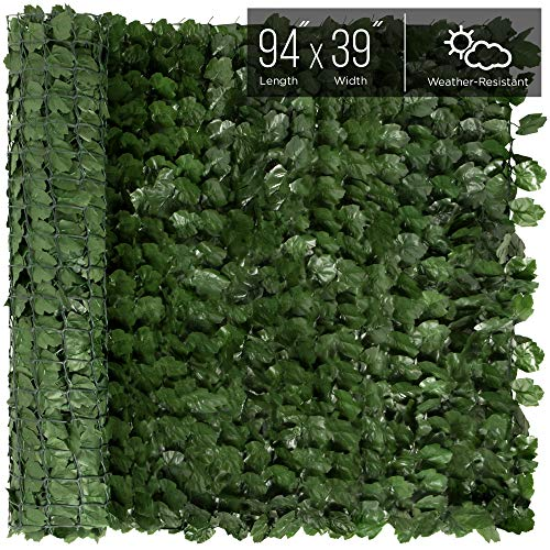 Best Choice Products Outdoor Garden 94x39-inch Artificial Faux Ivy Hedge Leaf and Vine Privacy Fence Wall Screen, Green