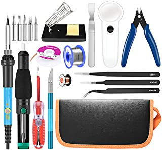 CRZJ Kit de Soldador eléctrico, Kit de Pistola de Hierro de Soldadura de Temperatura Ajustable