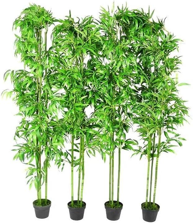 Pianta da bambù artificiale set con vaso 190 cm verde piante finte arredo casa  4 pezzi 240016