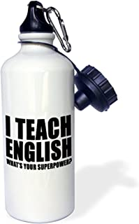"""3dRose wb_224007_1""""I Teach English Whats Your Superpower Black"""" Sports Water Bottle, 21 oz, White"""