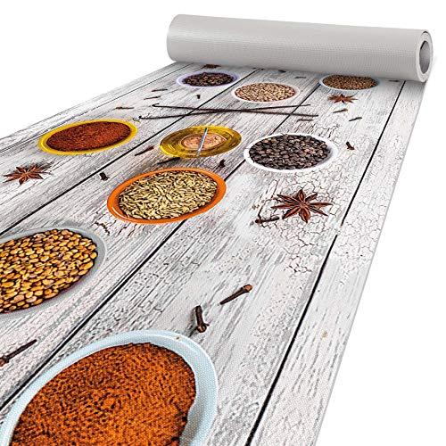 ANRO Alfombra de cocina antideslizante y lavable, diseño de especias, 160 x 51 cm