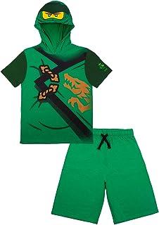 LEGO Ninjago Boys Ninjago Lloyd and Kai Costume Short Set Green and Red Shorts and Matching Costume Hooded T-Shirt
