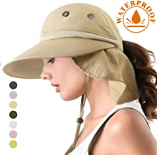 Camptrace Safari Sun Hats for Women Wide Brim Fishing Sun Hat with Neck Flap Ponytail Packable Summer Cooling Sun UPF Protection for Hiking Hunting Camping