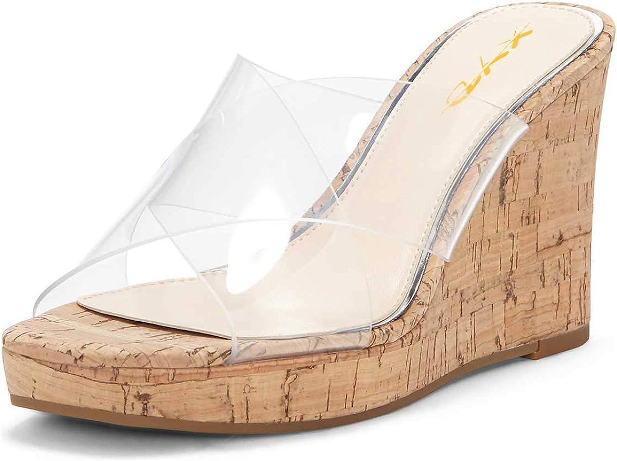 XYD Women Comfy Platform High Heel Sandals Clear Crisscross Strappy Cork Wedges Peep Toe Slip on Dress Vacation Shopping Mules