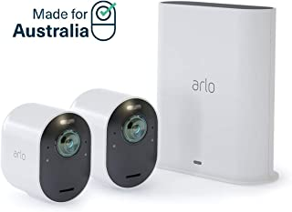 Arlo Ultra 4K UHD Wire-Free Security 2 Camera System, Colour Night Vision, 180 Degree View, 2-Way Audio (VMS5240-100AUS)