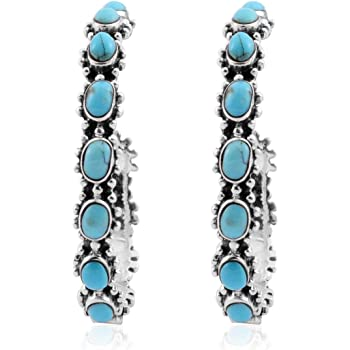 SANTA FE Style 925 Sterling Silver Turquoise Blue Southwest Jewelry Hoops Hoop Earrings for Women (Nickel Lead Free 31 mm)