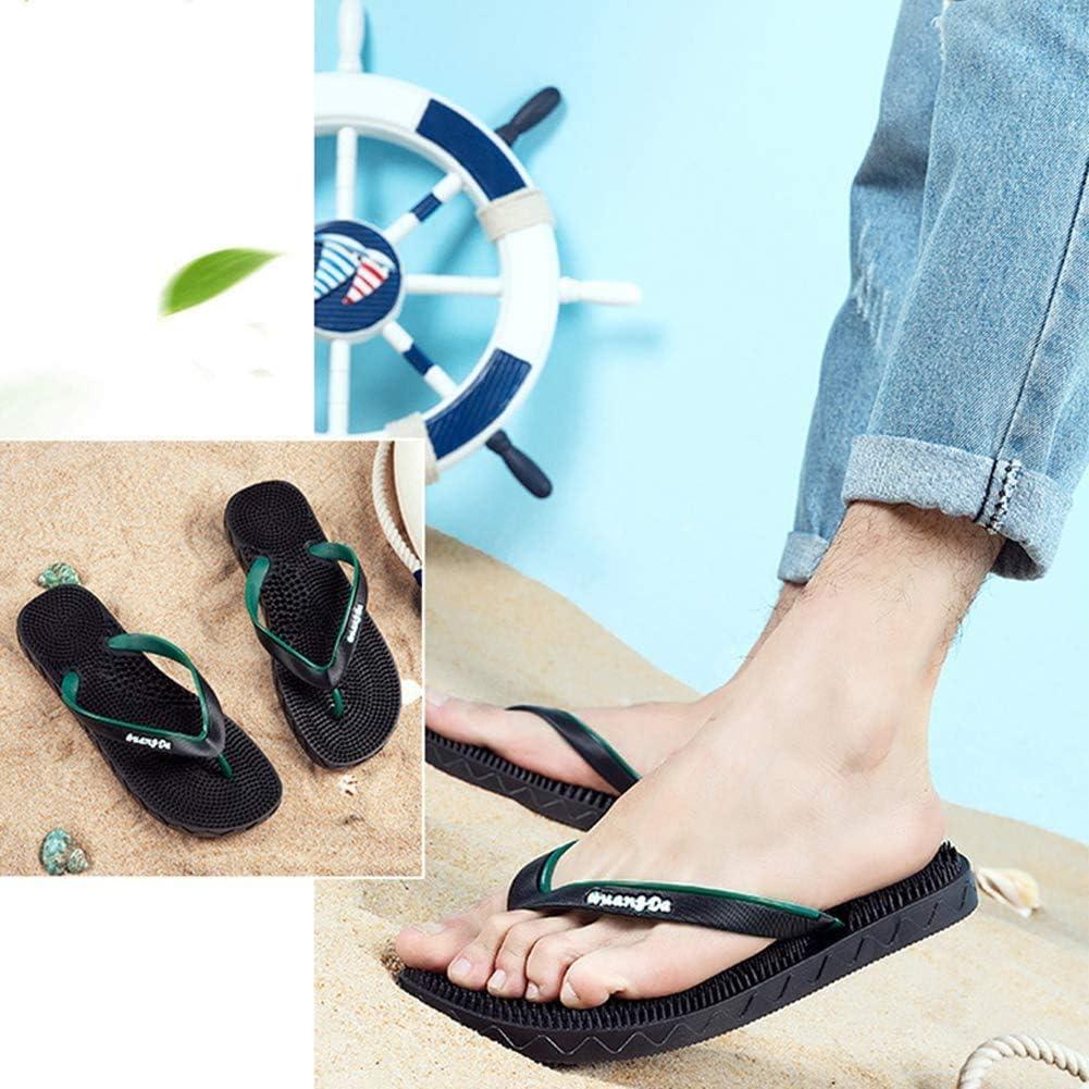 N /A Reflexology Sandals Men Flip Flops Reflexology flip Flops Summer Leisure Mules Slippers Slippers Slippers Strandshuhe 2020,Green,44