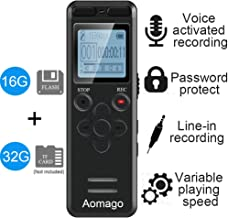 16GB Digital Voice Activated Recorder for Lectures - Aomago 1160 Hours Sound Audio Recorder Dictaphone Voice Activated Recorder Recording Device with Playback,MP3 Player,Password,Variable Speed