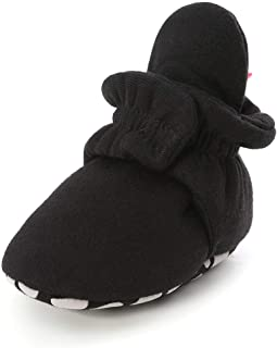 Isbasic Unisex Baby Cotton Booties Non-Slip Sole for Toddler Boys Girls Infant Winter Warm Fleece Cozy Socks Shoes (6-12 Months Infant, C/Black)