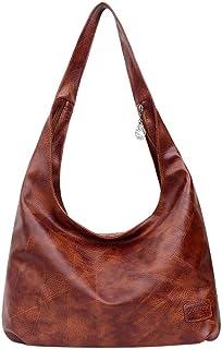 WERVOT Umhängetasche Damen Einfarbige Schultertasche aus Leder mit großer Kapazität für den Außenbereich Bag
