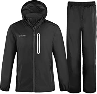 GOWETION Men's Rain Jacket Suit Waterproof Black Windbreaker With Hoodies Lightweight Raincoat Rain Gear Womens