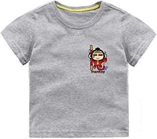 Mornyray Toddler Kids Casual Outfit Short Sleeve Cotton Top With Cute Cartoon Monkey Printing Pattern Design Babyboys Daily Playwear Fashion Wild Boys Sport Bottoming Tee(3-8T)