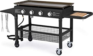U-MAX 4-Burner Portable Propane Gas Grill 2 in 1 with steel gas griddle flat top & 741sq. Inch BBQ Grill Plate Pan, CSA Ap...