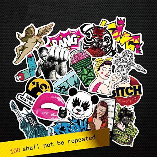 YRBB Sticker Pack WerkSie Coole 50-100 stuks PVC-stickers voor reis-koffer-wand-potlood-kast fiets-telefoon glijplaat gemengde graffiti Um, de @ 100_Piece_One_Pack Antwoorden