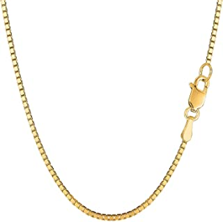 """14K Yellow Gold 1.6mm Shiny Classic Box Chain Necklace for Pendants and Charms with Lobster Clasp (18"""", 20"""", 22"""" 24"""" or 30 inch"""