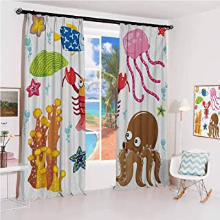 GUUVOR Toddler Sunshade Sunscreen Curtain Under The Sea Wildlife Theme Funny Creatures in Cartoon Style Fun Ocean Aquarium Soundproof Shade W52 x L95 Inch Multicolor