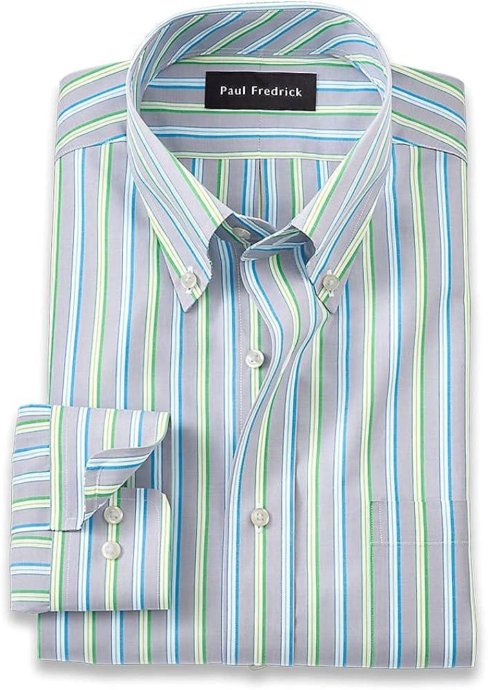 Paul Fredrick Men's Slim Fit Pure Cotton Stripe Dress Shirt