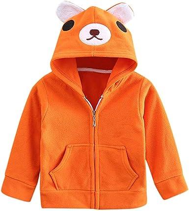 Sweat /à capuche /à manches longues pour gar/çon Motif animal Orange