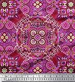 Soimoi Lila Seide Stoff Paisley & Mandala dekorativ Stoff