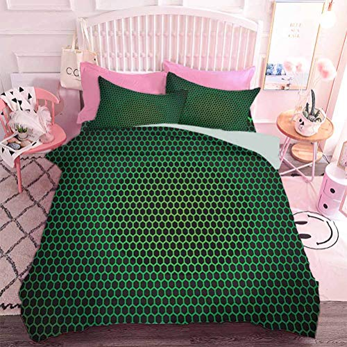 Hiiiman 3D Printed Bedclothes Geometrical Honeycomb Pattern with Polygons Technology Themed Grid Mesh Tile (3pcs, Full Size) Comforter and Two Pillowcase