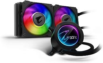 AORUS RGB AIO Liquid Cooler 240, 240mm Radiator, Dual 120mm Windforce PWM Fans, Customizable Full Color LCD Display, Advanced RGB Lighting and Control, Intel 115X/2066, AMD AM4, TR4
