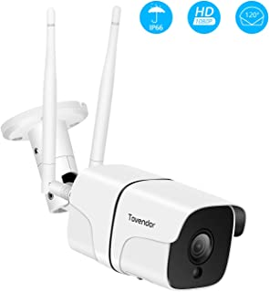 Tovendor Outdoor Security Camera, 1080P WiFi Bullet Cam, CCTV Surveillance System, IP66 Waterproof IP Camera with Two-Way Audio, Night Vision and Cloud Storage, Compatible with iOS/Android/Web