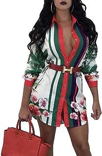 Womens Floral Print Button Down Collar Long Shirt Dress Blouse Mini Dress