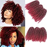 3pcs/pack Marley bob Kinky Curl 8 Inch Afro Kinky Twist Hair Soft Synthetic Crochet Braiding Hair Extention (1B/BURG)