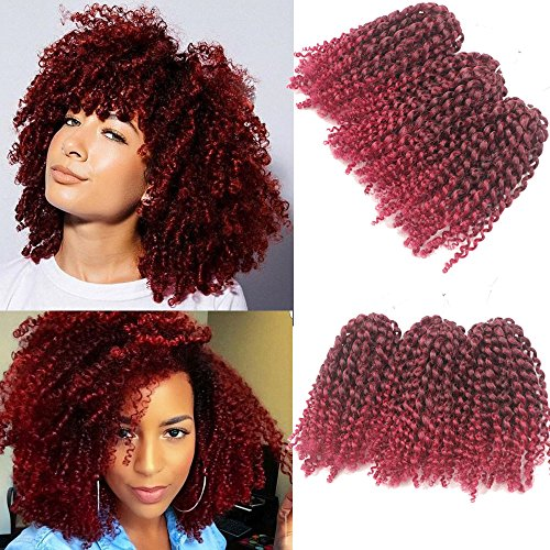 3pcs/pack bob Kinky Curl 8 Inch Afro Kinky Twist Hair Soft Synthetic Crochet Braiding Hair Extention (1B/BURG)