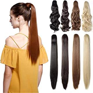 RemeHi Silky Straight Remy Hair Clip in Claw Ponytail Hair Extension with a Jaw Claw Hair Clip for Women 90g 15 Inch 2# Dark Brown