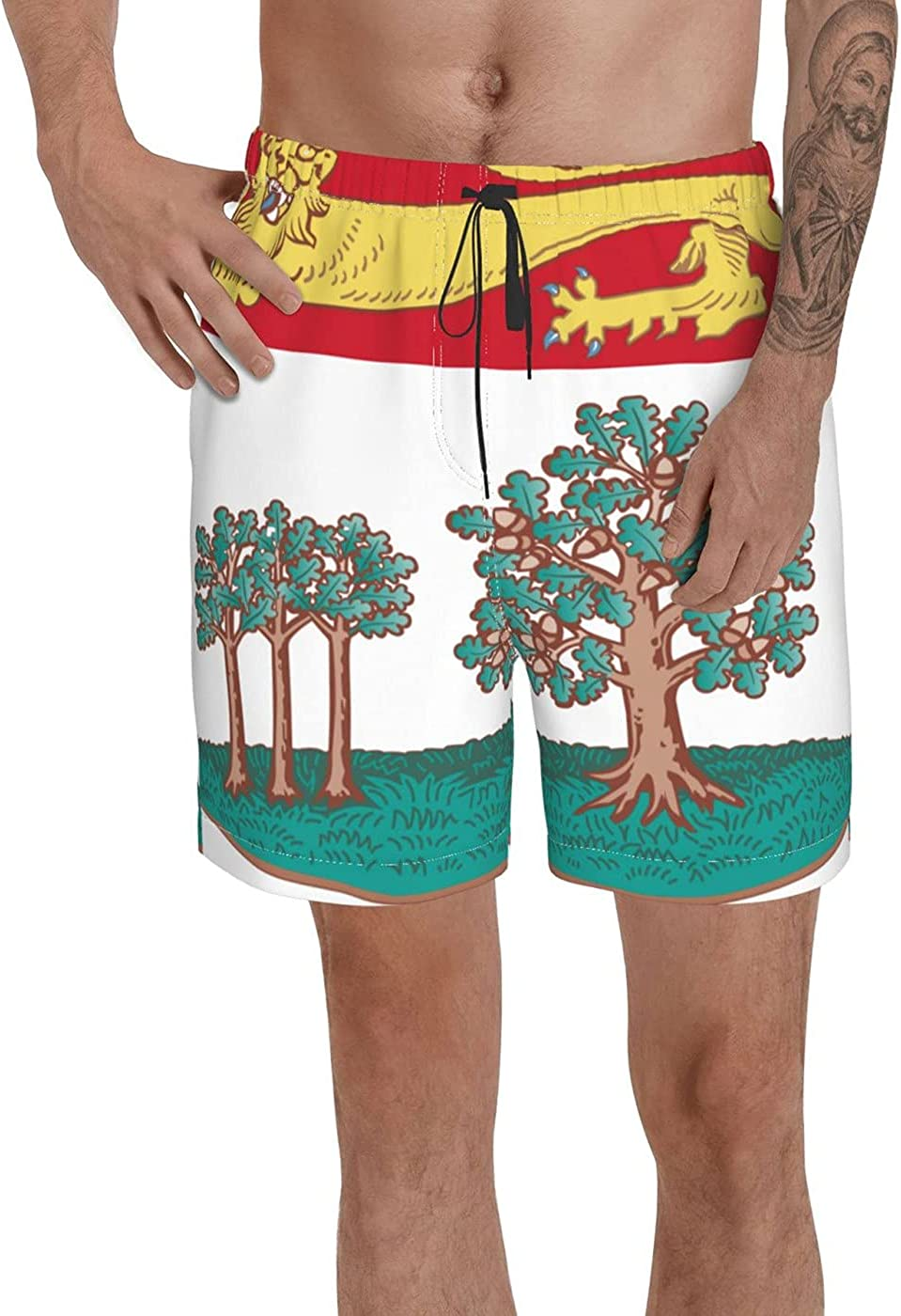Count Prince Edward Island Flag Men's 3D Printed Funny Summer Quick Dry Swim Short Board Shorts with