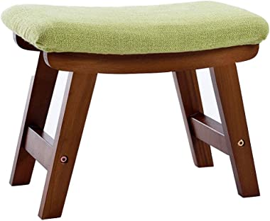 Change Shoes Stool Household Ottoman Creative Low Stool Solid Wood Foot Stool 4 Legs and Removable Linen Cover / 39cmx25cmx29cm / Max Load 150KG (Walnut Color)