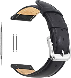 Best black leather watch strap 18mm Reviews