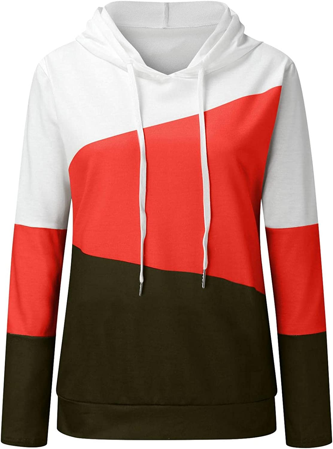 Womens Zip-Up Hoodie Long Sleeve Pachwork Print Lightweight Pullover Sweatshirt Casual Knit Tunic Jacket with Pockets