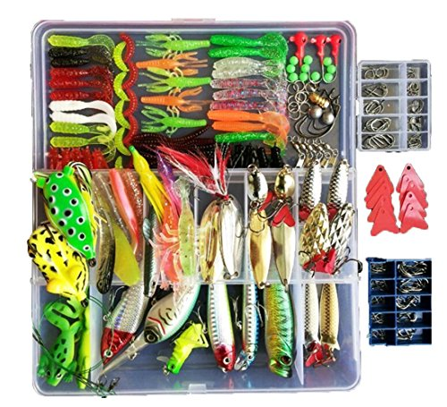 Topconcpt 275pcs Freshwater Fishing Lures Kit Fishing Tackle Box with Tackle Included Frog Lures...