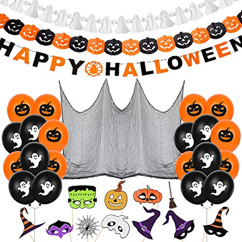 Bluelves Halloween Palloncino Decorazione Set,Ragnatela Tenda, Foto Prop Halloween,Happy Halloween Banner Ghirlande,10 Zucca Palloncini,10 Fantasmi Palloncini per Casa Decorazione,Tavola e Giardino