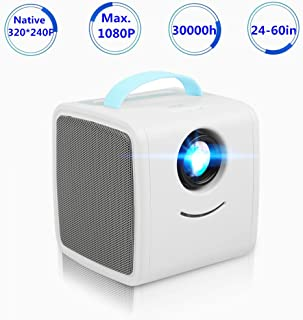 Sanpyl Mini Children Education Projector Portable Great Gift for Kids Provides Multiple Input Interfaces Such HDMI, AV, TF, and USB Support 1080P HD Display(Blue US)