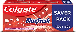 Colgate MaxFresh Toothpaste, Red Gel Paste with Menthol for Super Fresh Breath, 300g, 150g X 2 (Spicy Fresh, Saver Pack)